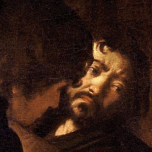 A Self-Portrait detail in The Calling of Saint Matthew (1599–1600) by Caravaggio in the church of San Luigi dei Francesi, Rome (Photo courtesy of San Luigi dei Francesi)