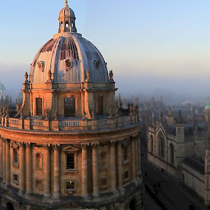 Radcliffe Camera and All Souls College from top of University Church. November sunset (Photo by Tejvan Pettinger)