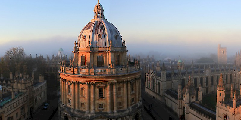Radcliffe Camera and All Souls College from top of University Church. November sunset, Oxford, Oxford (Photo by Tejvan Pettinger)