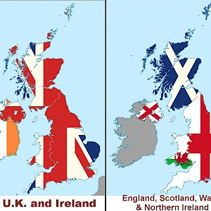 Map showing the British Isles, United Kingdom and Ireland, and constituent countries of the U.K. (Photo © Reid Bramblett)