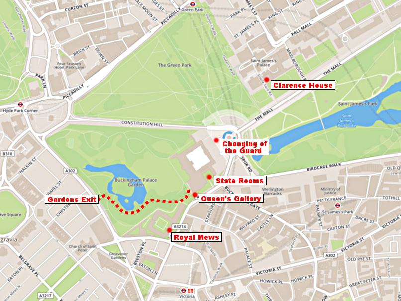 Entrances to Buckingham Palace attractions