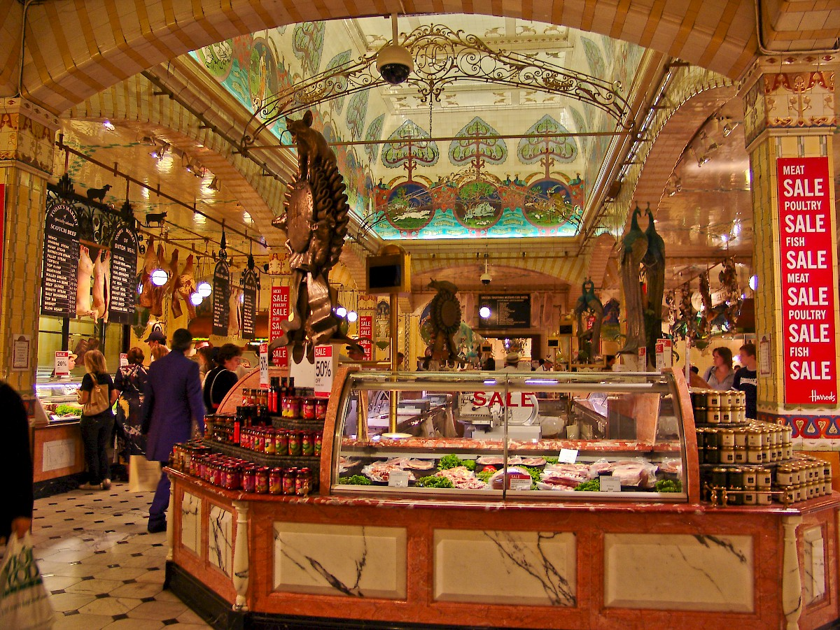 The food court at Harrods with its distinctive Deco ceiling, Harrods, London (Photo
