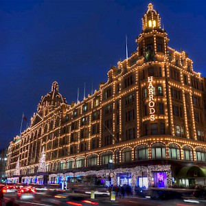 Harrods lit up at night (Photo by Michael Caven)