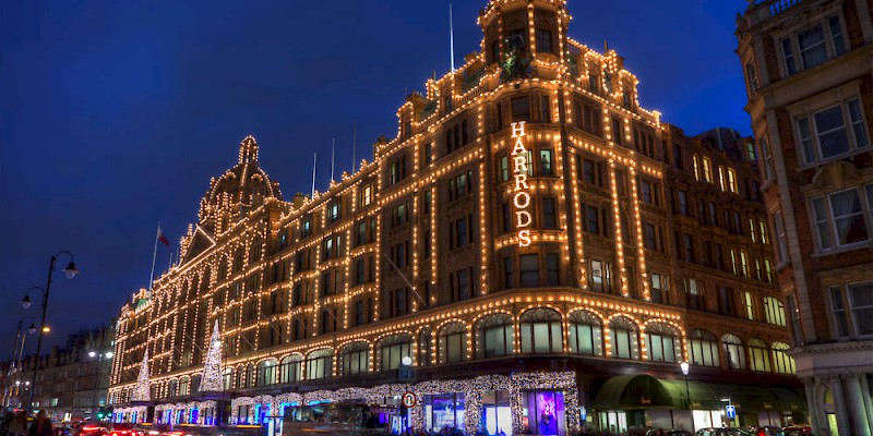 Harrods lit up at night, Harrods, London (Photo by Michael Caven)