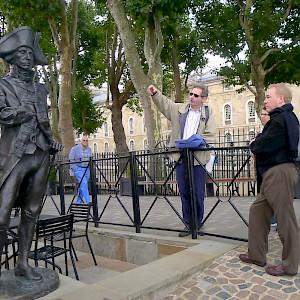 Context Travel guide Tim Hochstrasser pauses outside Trafalgar Tavern to about Admiral Lord Nelson on a walking tour of Greenwich (Photo courtesy of Context Travel)