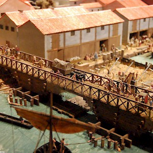 A model of Roman-era London, circa AD 85–90, including the first bridge over the Thames (close to the current location of London Bridge) (Photo by Steven G. Johnson)