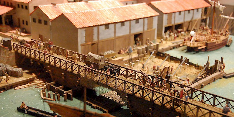 A model of Roman-era London, circa AD 85–90, including the first bridge over the Thames (close to the current location of London Bridge), Museum of London, London (Photo by Steven G. Johnson)