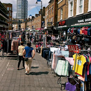 Petticoat Lane market stalls (Photo by Craig Nagy)
