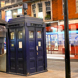 "A Tardis (er, ""police box"") at Earl's Court (Photo by Jamie McCaffrey)"