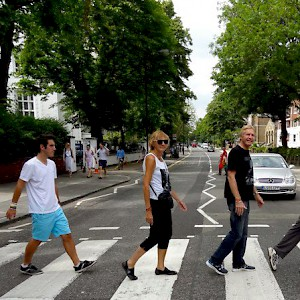 Crossing Abbey Road (Photo by Jon and Jenny Stark)