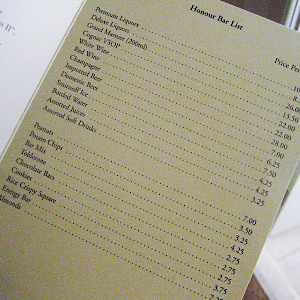 High prices in a London hotel minibar (Photo by Rick)
