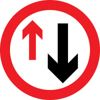 """Give way to oncoming traffic""—They have the right of way (remember: you are the arrow on the left)"