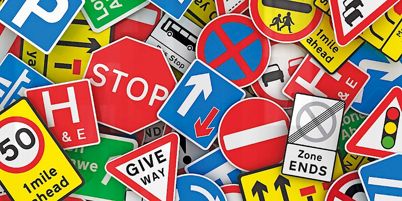 British road signs (Photo is a collage of images in the public domain)
