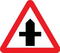 Intersection with a smaller road ahead