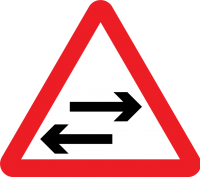 """Two way traffic ahead"" (variant)"