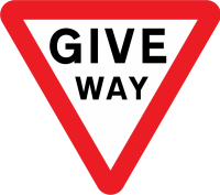 """Give Way"" or ""Yield"" (this one is more explicit)"