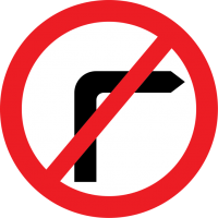 No right turn. (Similar signs warn you against taking a left.)