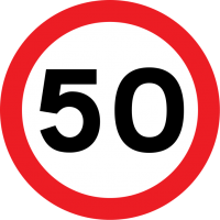 Speed limit (in this case, 50 mph)