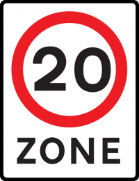 Speed limit zone (until you see a sign with a new speed on it, stay below 20 mph)