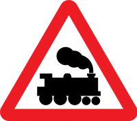 "Level crossing without barriers (I know that you know this means ""trains,"" but the fact that it warns of a railroad crossing with no barriers makes it significant)"