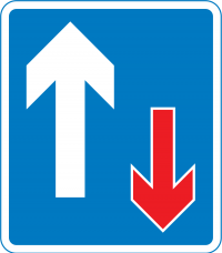 """Priority over oncoming traffic""—You have the right of way (remember: you are the arrow on the left)"