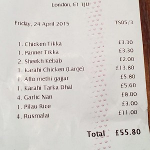 Check to be sure you ordered every item on the bill (Photo by Ranjith R.)