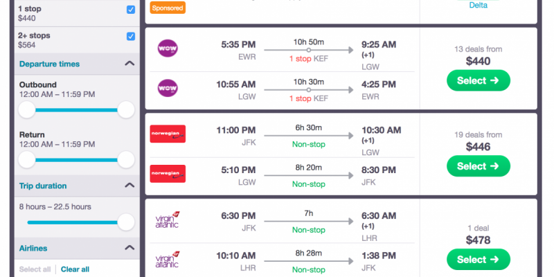 Skyscanner is an aggregator comparing airfare results from hundreds of booking engines and airlines side-by-side (Photo courtesy of Skyscanner)