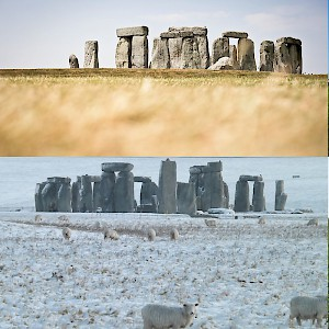 The travel seasons of England (Photo by (from top left) Mark Notari, Jiuguang Wang, Stonehenge Stone Circle, Andrew Writer)