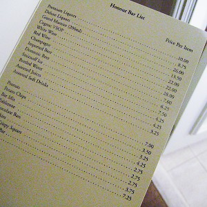 Those peanuts in the minibar don't cost just peanuts—they cost €7! And since when was a bottle of water worth €4.25? (Photo by Rick)