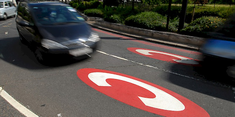 Road markings—like these on Kensington High Street—mark the Central Zone where the London Congestion Charge takes effect, Congestion charges, General (Photo © Transport for London)