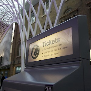 A ticketing machine at Kings Cross Station in London (Photo by Paul Simpson)