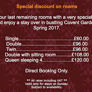 Many hotel websites will offer seasonal offers or last-minute discounts (Photo courtesy of Fielding Hotel, London)
