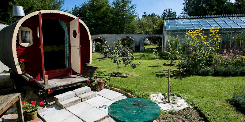 Live in a Gypsy Caravan near Saundersfoot in Western Wales while working in the greenhouse (Photo courtesy of WWOOF UK)