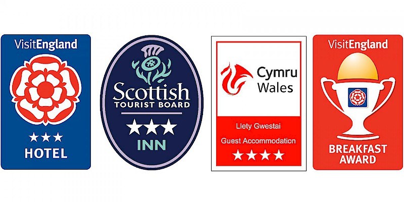 Official star ratings mostly have to do with services, not style (Photo graphic by Reid Bramblett, with images courtesy of VisitEngland, the Scottish Tourist Board, and Visit Wales)
