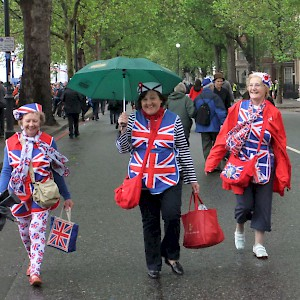Not sure if these women are overeager tourists or overeager patriots, but they seem to be having a great time (Photo by Oasty40)