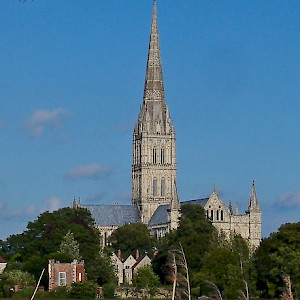 Salisbury Cathedral from across the Hanham Meadows (Photo © Reid Bramblett)