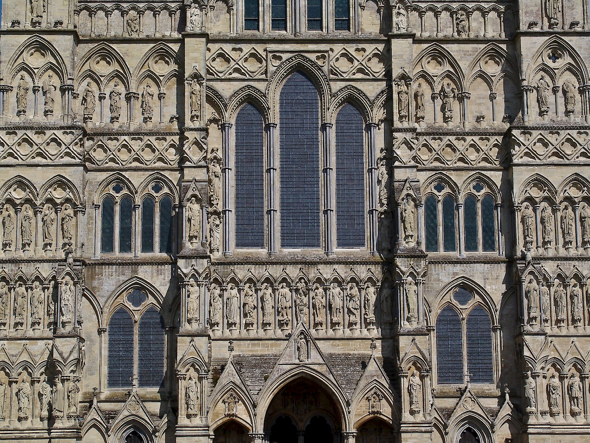 Detail Of Salisbury Cathedral Facade And Stonehenge Photo AC
