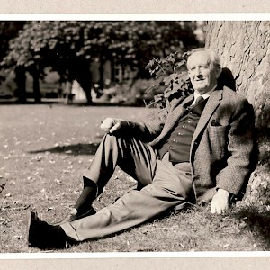 Tolkien under his tree (Photo by Billet Potter)