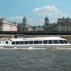 Cruising by the Royal Naval College in Greenwich (Photo courtesy of Viator)